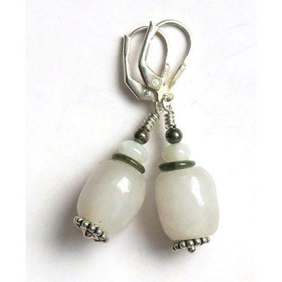 Boucles d'oreilles Jade jadéite blanc et Argent