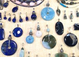 Salon - Pendentif Aigue-marine, lapis lazuli