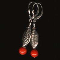 Boucles d'oreilles Corail de Méditerranée et Argent