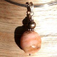 Pendentif Opale rose et Argent