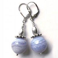 Boucles d'oreilles Calcédoine bleue et Argent