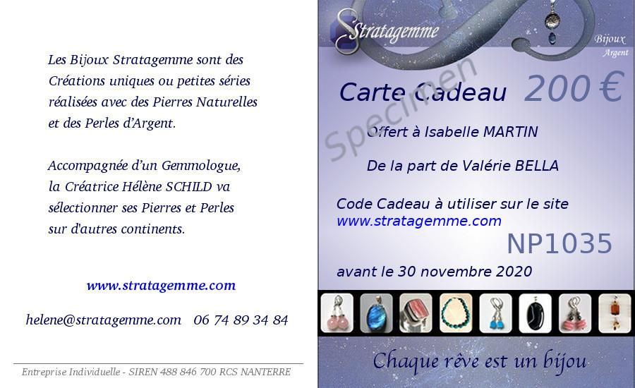 Carte Cadeau de 200 euros Specimen