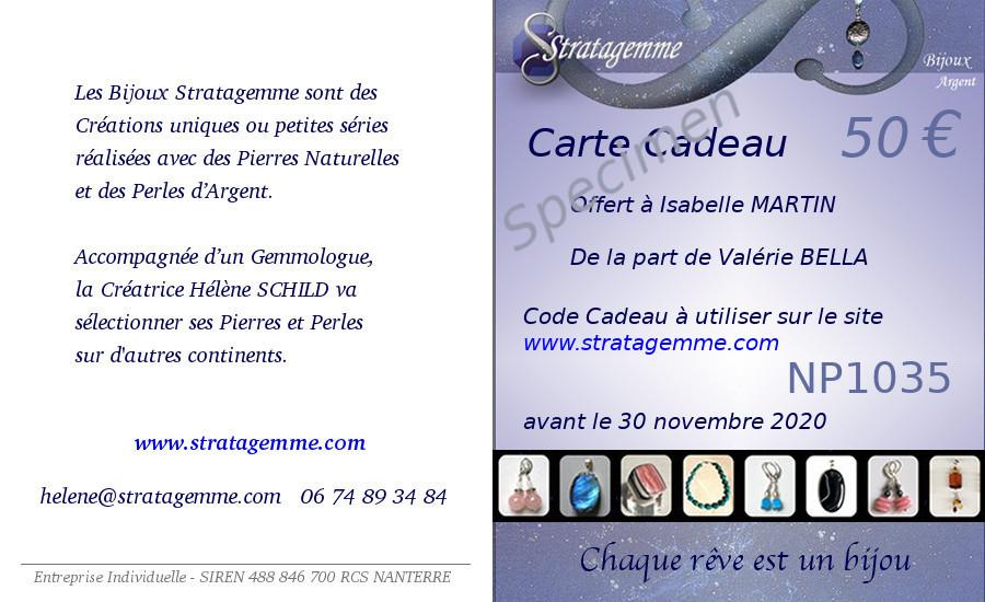 Carte Cadeau de 50 euros Specimen