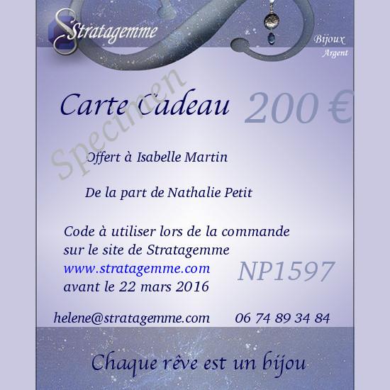 Carte cadeau Stratagemme 200€