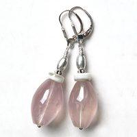 Boucles d'oreilles Quartz rose et Argent