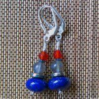 Boucles d'oreilles Lapis Lazuli, Pyrite, Labradorite, Cornaline et Argent
