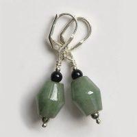 Boucles d'oreilles Jade jadéite vert et Argent