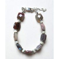 Bracelet Agate beige, marron, gris, blanc et Argent