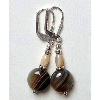 Boucles d'oreilles Agate marron et blanc et Argent