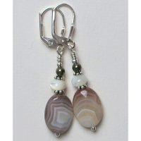 Boucles d'oreilles Agate beige, blanc et Argent