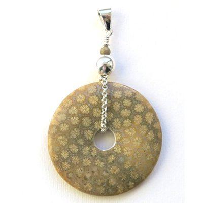 Pendentif Donut (pi) Corail fossile et Argent
