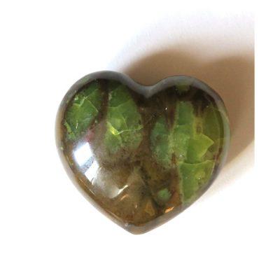 Coeur d'Opale verte et chocolat - Minéraux Stratagemme
