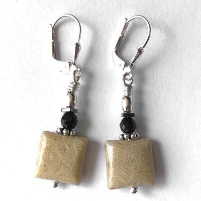 Boucle d'oreilles Corail fossile et Argent