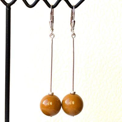 Boucles d'oreilles Jaspe Moutarde et Argent
