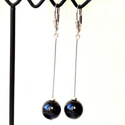 Boucles d'oreilles Onyx et Argent