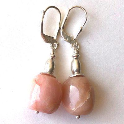 Boucles d'oreilles Opale rose et Argent