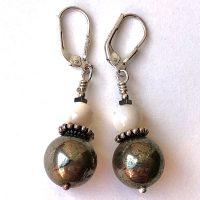 Boucles d'oreilles Pyrite, Nacre et Argent