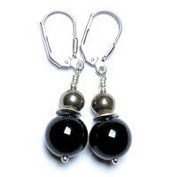 Boucles d'oreilles Onyx, Pyrite et Argent