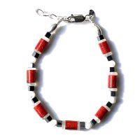Bracelet Corail d'Indonésie, Nacre, Hématite et Argent