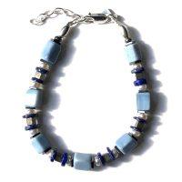 Bracelet Opale bleue, Lapis Lazuli, Pyrite, Perles, Hématite et Argent