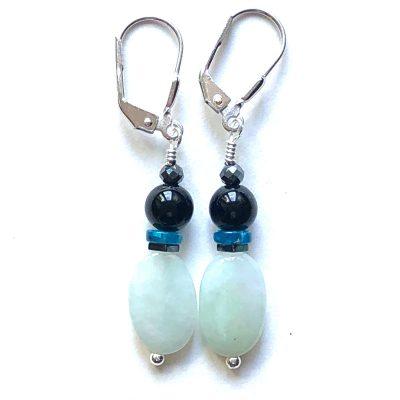 Boucles d'oreilles Jade jadéite et Argent