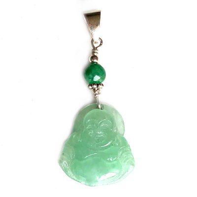 Pendentif Bouddha Jade jadéite vert et Argent