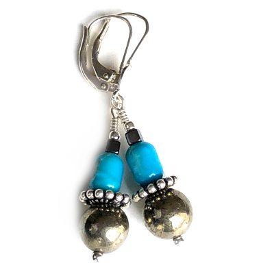 Boucles d'oreilles Turquoise, Pyrite et Argent