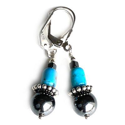 Boucles d'oreilles Turquoise, Hématite et Argent