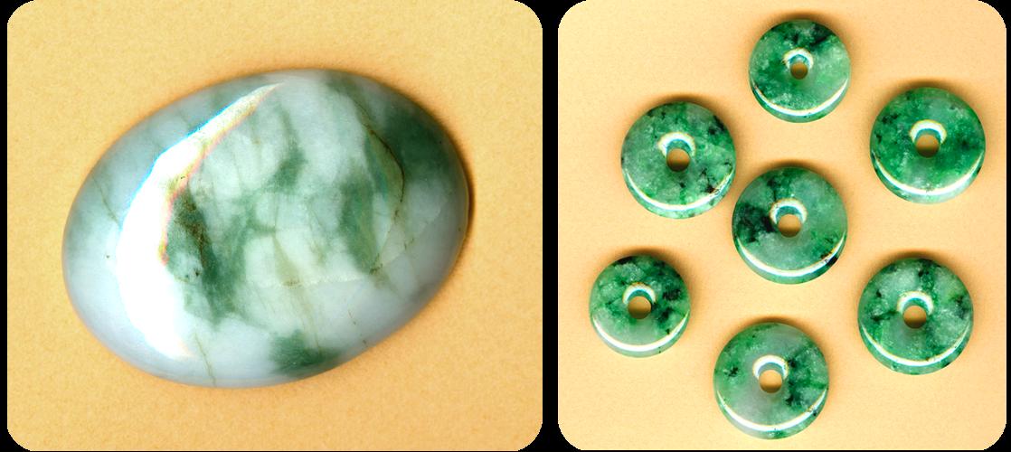 Cabochons et donuts Jade jadéite
