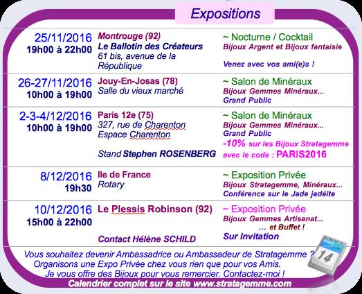 Calendrier des Expositions et Salons - Bijoux Stratagemme - Automne 2016