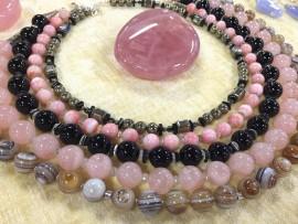 Bijoux Argent rose et noir - Minéraux
