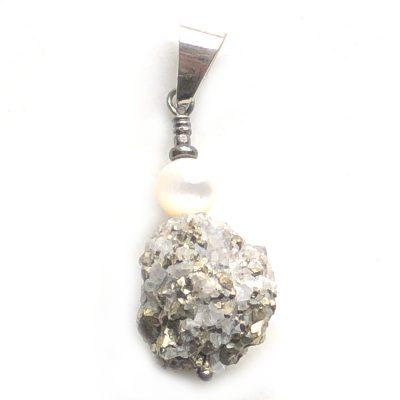 Pendentif Pyrite, Quartz, Nacre et Argent