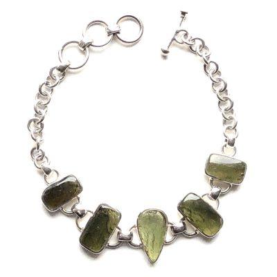 Bracelet Moldavite et Argent