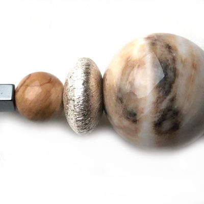 Pendentif Bois pétrifié (fossile) et Argent