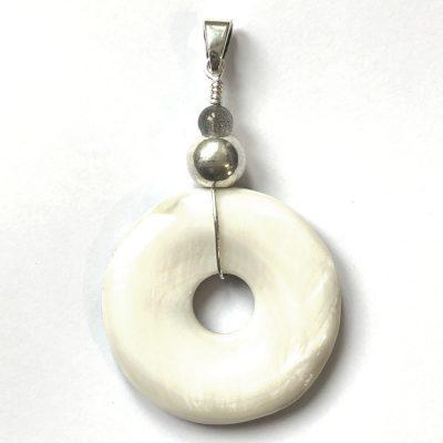 Pendentif Donut Nacre et Argent