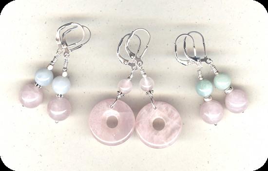 Boucles d'oreilles Quartz rose et Jade jadéite