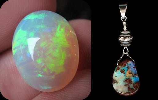 Opale et Pendentif Opale boulder