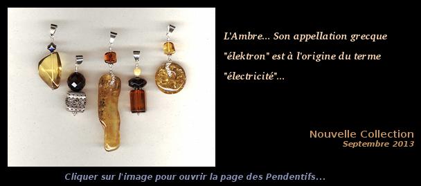 Collection Septembre 2013 - Pendentif Ambre et Argent