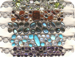 "5 Bracelets ""manchette"" Turquoise, labradorite, Péridot, Ambre ou Améthyste"